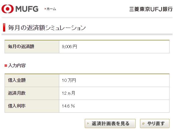 三菱東京UFJ銀行 返済シミュレーション